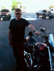 Standing next to my 2004 Harley Davidson V-Rod last Friday the day after getting home to Texas.  Good to be on the road again!